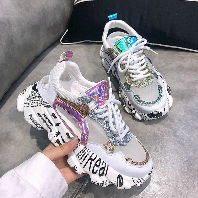 Summer Women Sneakers Fashion Comfortable Casual Dad Shoes Sequins Girl Graffiti Breathable Platform Shoes Woman Sandals W401