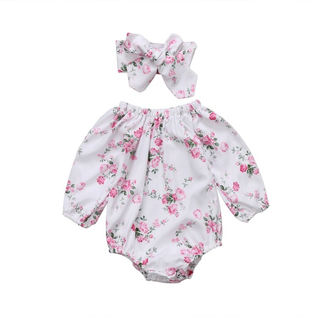 f07fdc82282e Newborn Kids Toddler Girls Floral Bodysuit Baby Girls Outfits Jumpsuit  Clothe