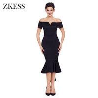 ZKESS Women Sexy Off Shoulder Short Sleeve Mermaid Dress Party Club Fashion High Low Ruched Hem