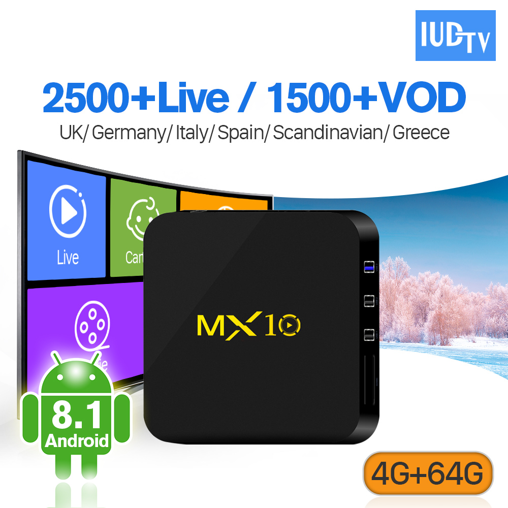 IPTV Portugal Box MX10 4G 64G Android 8.1 RK3328 1 Year IUDTV IPTV Sweden Germany UK Italy Portugal Turkey Spain IP TV цены онлайн