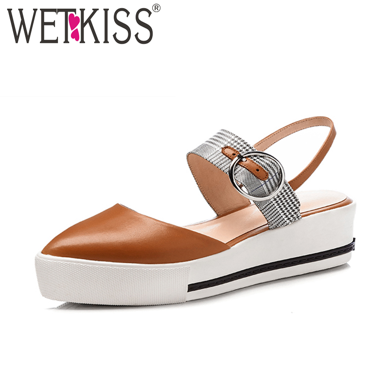 WETKISS Summer Casual High Heeled Women Sandals Pointed Toe Genuine Leather Plaid Wedges Footwear 2018 New Female Platform Shoes mudibear women sandals pu leather flat sandals low wedges summer shoes women open toe platform sandals women casual shoes