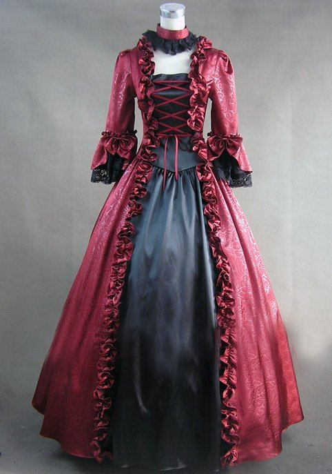 (GT015) robe gothique victorienne Lolita à manches longues robe de bal Cosplay déguisement Halloween Costume de fête 3 couleurs disponibles