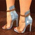 Verão Mulheres Sexy Sandálias Gladiador Tira No Tornozelo Do Dedo Do Pé Aberto Sapatos De Salto Alto Azul Denim Stiletto Mulheres Bombas Sandalias Mujer
