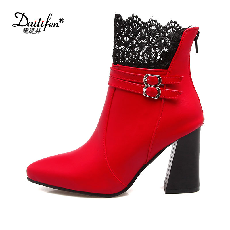 Daidiesha Women Ankle Boots Thick High Heels Lace Pointed Toe Double Buckle Platform Shoes Short Autumn Winter Booties Mujer fashion velvet women short booties pointed toe back zip metal decor ankle boots botines mujer women platform pumps shoes