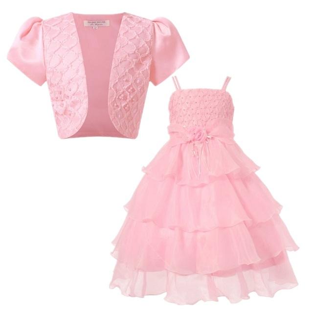 2016 Muchachas de La Princesa Elegante Vestido De Niña de las Flores Vestidos de Boda Con la Chaqueta de Bebé Ropa de Los Niños Vestido de Ceremonias