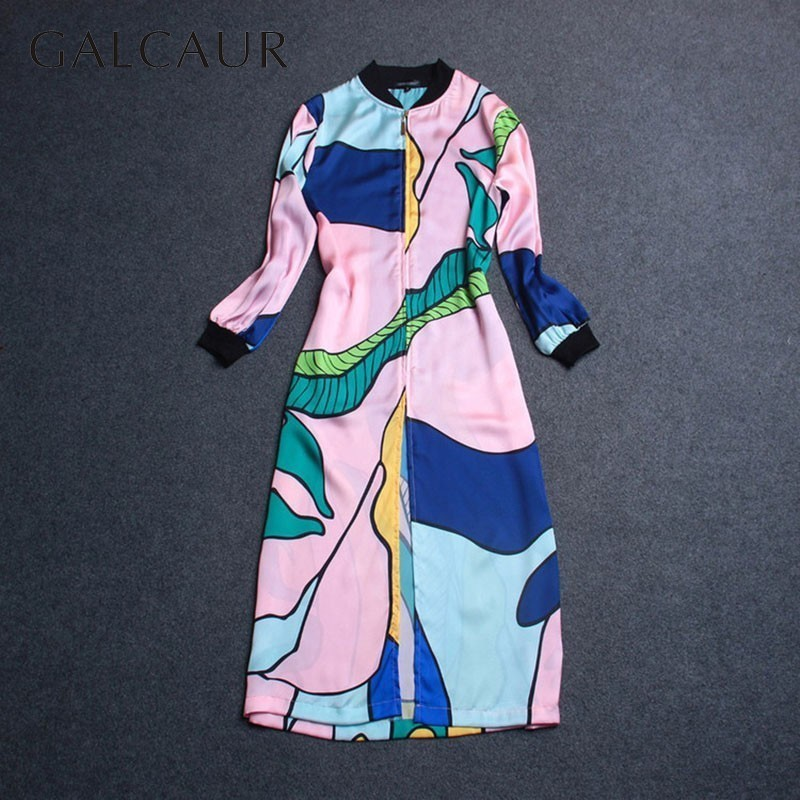 GALCAUR Print Pattern Windbreaker For Women Stand Collar Long Sleeve Zipper   Trench   Coat Female Casual Fashion 2019 Spring New