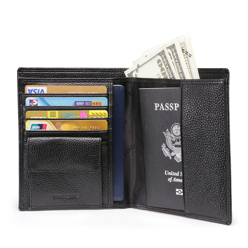 ФОТО Free Shipping New Business Mens Genuine Leather Passport Bifold Wallet Travel Credit Card Holder Organizer Coin Hasp wallet Q488