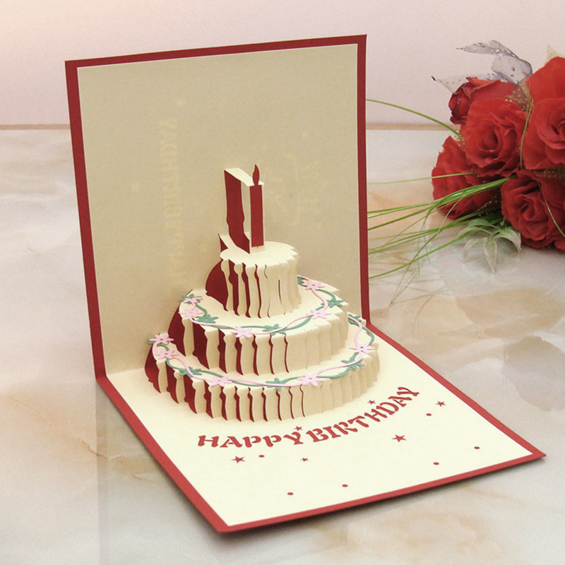 Handmade 3d Birthday Cake Pop UP Greeting Card with Candle ...
