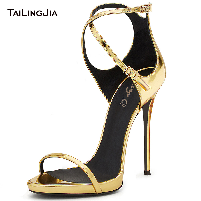 Shiny Cross Tied High Heel Open Toe Woman Sandals Gold Sexy Patent Leather Ladies Bukle Party Shoes Plus Size Free Shipping 2019Shiny Cross Tied High Heel Open Toe Woman Sandals Gold Sexy Patent Leather Ladies Bukle Party Shoes Plus Size Free Shipping 2019