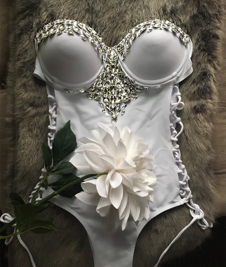 VIKINII 2018 Sexy White Crystal Women One Piece Swimwear Rhinestone Luxury Bandage One Piece Swimsuit Women