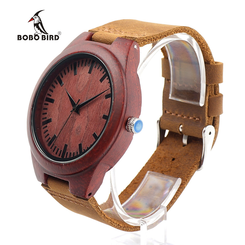 BOBO BIRD L15 Men s Red Sandal Wood Watches Bamboo Quartz Wristwatches With Genuine Leather Band