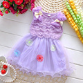 2016 Fashion Summer Sleeveless Lace Bow Cute Baby Party Birthday Girls Kids Children Dresses, Princess Infant Dress