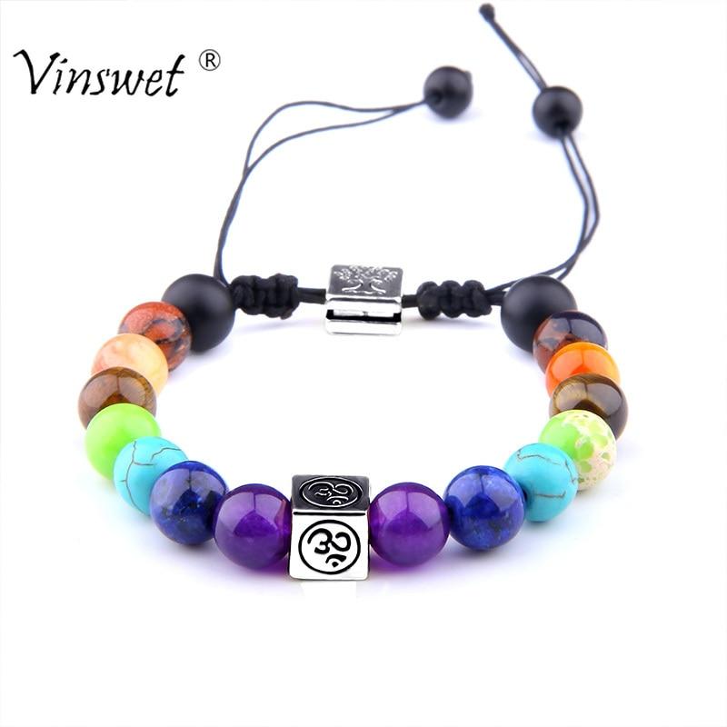Natural Multicolor Beads Stones Weave Rope Bracelet 7 Chakra OM Tree of Life Men Bracelets Women Yoga Charm Jewelry DropShipping