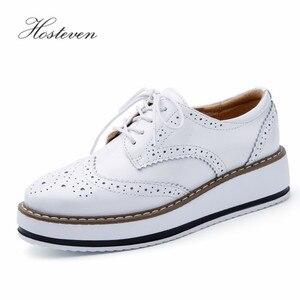 Image 1 - Hoستيفن أحذية نسائية المتسكعون عادية جلد طبيعي ثقب الأحذية الأخفاف السيدات حذاء امرأة الإناث الشقق الأم الأحذية