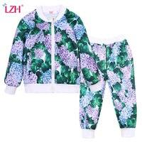 LZH 2017 Autumn Winter Baby Girls Clothes Set Cardigan T Shirt Pants 3pcs Kids Girls Sport
