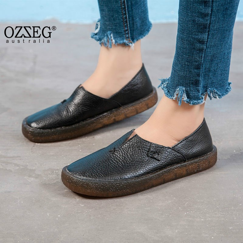 2018 Women Shoes Spring Summer Flat Loafers Genuine Leather Slip on Casual Shoes for Women Vintage Hand Made Flats High Quality summer women flats shoes casual flat women shoes slips flat women loafers shoes slips leather black flat s women s shoes