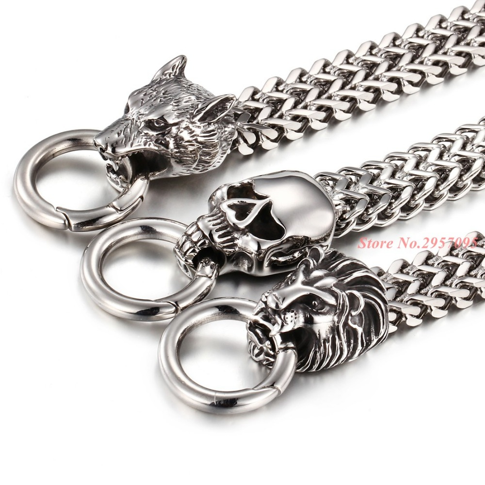 New Arrived Punk Large Gothic Skull Lion Wolf Head Bracelet Biker Men Stainless Steel Bracelet Gold Silver Color цена 2017