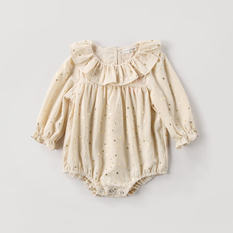 Sweet Baby Girls Jumpsuit Golden Star Pattern Ruffle Collar Baby   Rompers   High Quality Infant Princess Costume