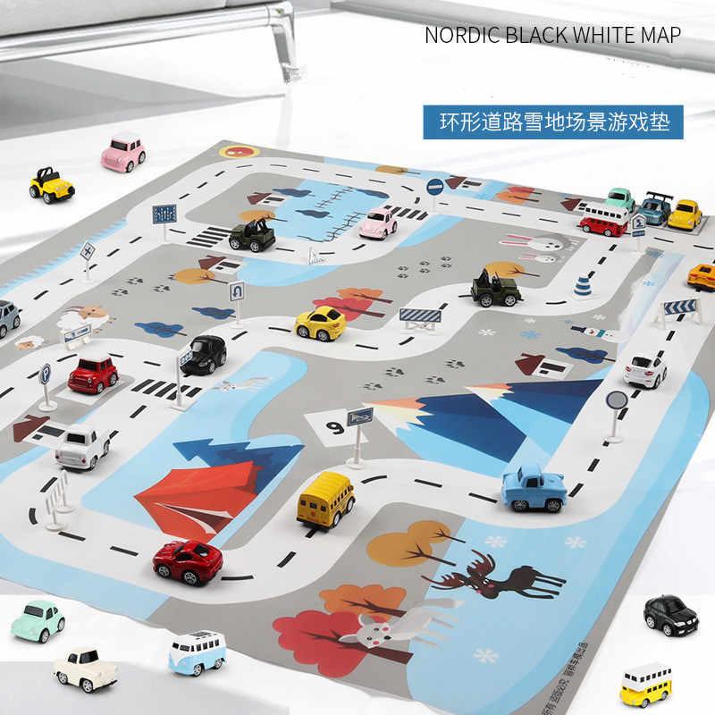 130*100 cm grande cidade tráfego parque de estacionamento jogar esteira impermeável não-tecido crianças playmat puxar para trás carro brinquedos para a esteira das crianças