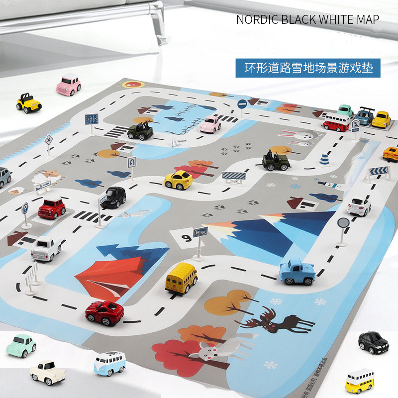 Image 3 - 130*100CM Large City Traffic Car Park Play Mat Waterproof Non woven Kids Playmat Pull Back Car Toys for Children's Mat-in Play Mats from Toys & Hobbies