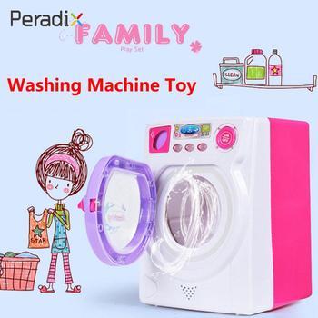Simulation Washing Machine Washer Toy Washing Machine Toy Small Appliances Girl Pink Kitchen Miniature Electric Led