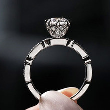 Silver 925 ring gold Diamond Ring Moissan rings Costume jewelry Hearts and arrows Round wedding diamond ringB2540