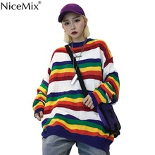NiceMix Autumn Casual Knitted Stripe Sweater Women Pullovers Spring Knitwear Korean Jumpers Woman Clothes Pull Femme Hiver 2019