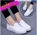 Новый 2017 Весна Лето белый холст обувь женская повседневная обувь женская мода плоские туфли студент обувь