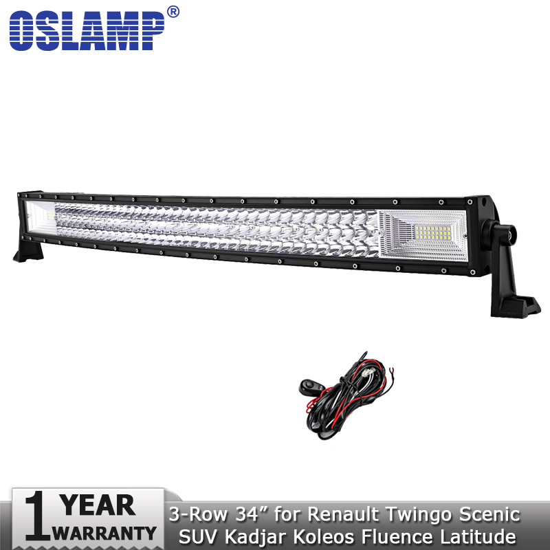 Oslamp 34inch 486W 3-row Curved LED Light Bar Offroad 4x4 Combo Led Work Light Bar 12v 24v for Renault Twingo Scenic SUV Kadjar free shipping 100% test original for hp cp3525 power supply board rm1 5686 000cn rm1 5686 220v rm1 5685 000cn rm1 5685 110v