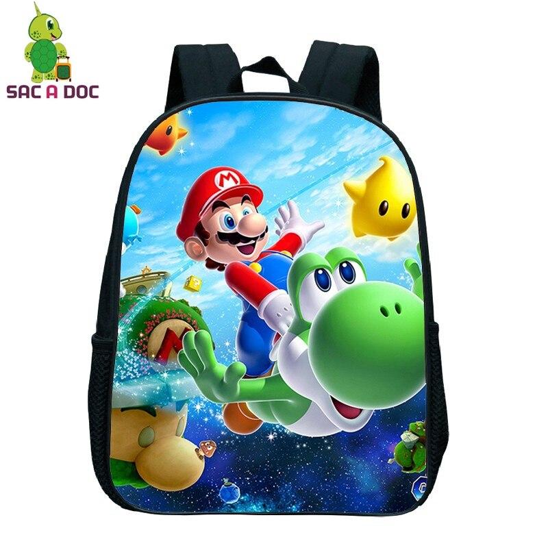 e4b4d0905f62 Children School Backpack Cartoon Super Mario Printing Kindergarten Backpack  for Kids Boys Girls Students Primary School