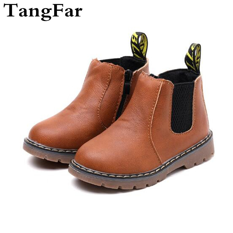 New Children's  Boots Plush Retro PU Leather Boy Snow Boot Girl Motorcycle Rubber Boots Waterproof Kids Botas Shoe