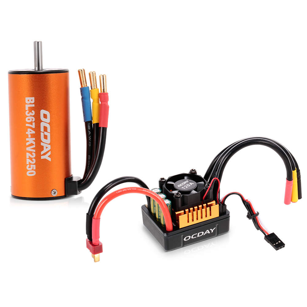 OCDAY RC Car BL3674 2250KV Sensorless Brushless Motor 120A ESC for 1:8 RC Crawler Traxxas Redcat HSP Cars Truck brushless 120a esc 2 6s 24v sensored sensorless waterproof speed controller for 1 8 rc cars off road buggy crawler e scooter