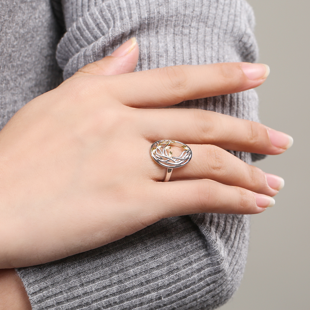 Image 3 - SA SILVERAGE Authentic 925 Sterling Silver Life Tree Shape Engagemant Wedding Ring 925 Silver Gold Color Plated Rings for WomanRings   -