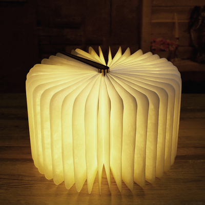 LED Nightlight Foldable Wooden Book Shape Desk Lamp Nightlight Booklight For Home Decor Warm USB Rechargeable