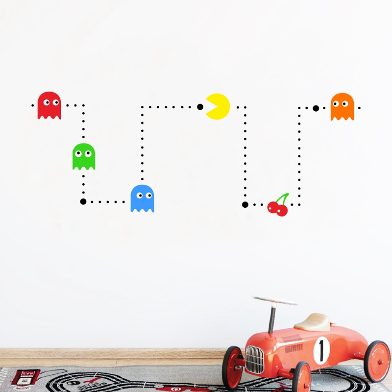 PACMAN Wall Sticker Nursery Decor Funny DIY Kids Games Stencil Vinyl Mural Art Decal Home Baby Room Decor