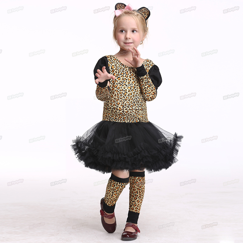 Holiday Funny Leopard Costume Children Girl Cat Tail Cospaly Party Dress Up Tutu Suit Halloween Costume Kids Christmas S-XL