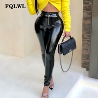FQLWL Latex Faux Pu Leather Pants Women Trousers Push Up High Waist Skinny Pants Pencil Autumn Winter Black Sexy Pants Female