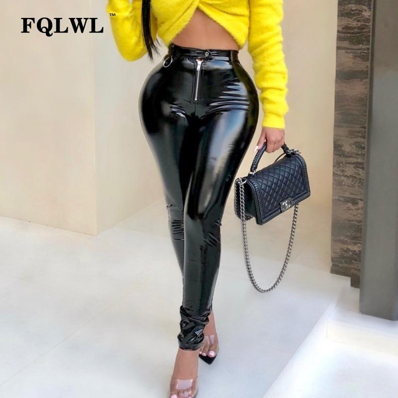 FQLWL Latex Faux Pu Leather Pants Women Trousers Push Up High Waist Skinny Pants Pencil Autumn Winter Black Sexy Pants Female