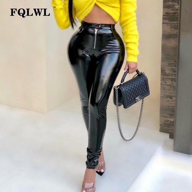 bddce2cd22668f FQLWL lateksowe Faux Pu spodnie skórzane damskie spodnie Push Up wysokiej  talii spodnie obcisłe ołówek jesień
