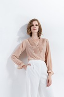 2017 Autumn And Winter New Fashion Model V Collar Simple Pure Color Long Sleeve Chiffon Shirting