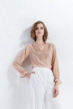 2018 spring new fashion top shirt model V- collar simple solid color long sleeve Chiffon shirt top women's wear