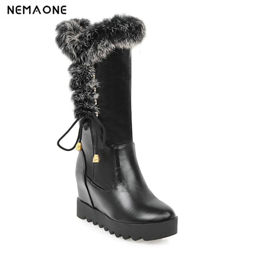 2019 elegant knee high snow boots wedge high heel women shoes winter party shoes large size 33-43 it`s black white and red