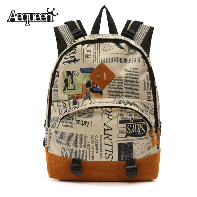 b4dc4e02b48a Women Backpack Canvas Rucksack Lady Shoulder Bags Newspaper Printed  Students School Pack Large Capacity Mochila Hot Sale