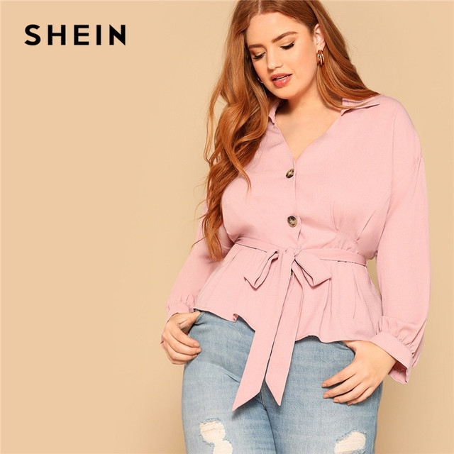 SHEIN Plus Size Pink Waist Belted Button Front Peplum Blouse Women Spring Long Sleeve Turn-Down Collar Solid Elegant Ladies Tops