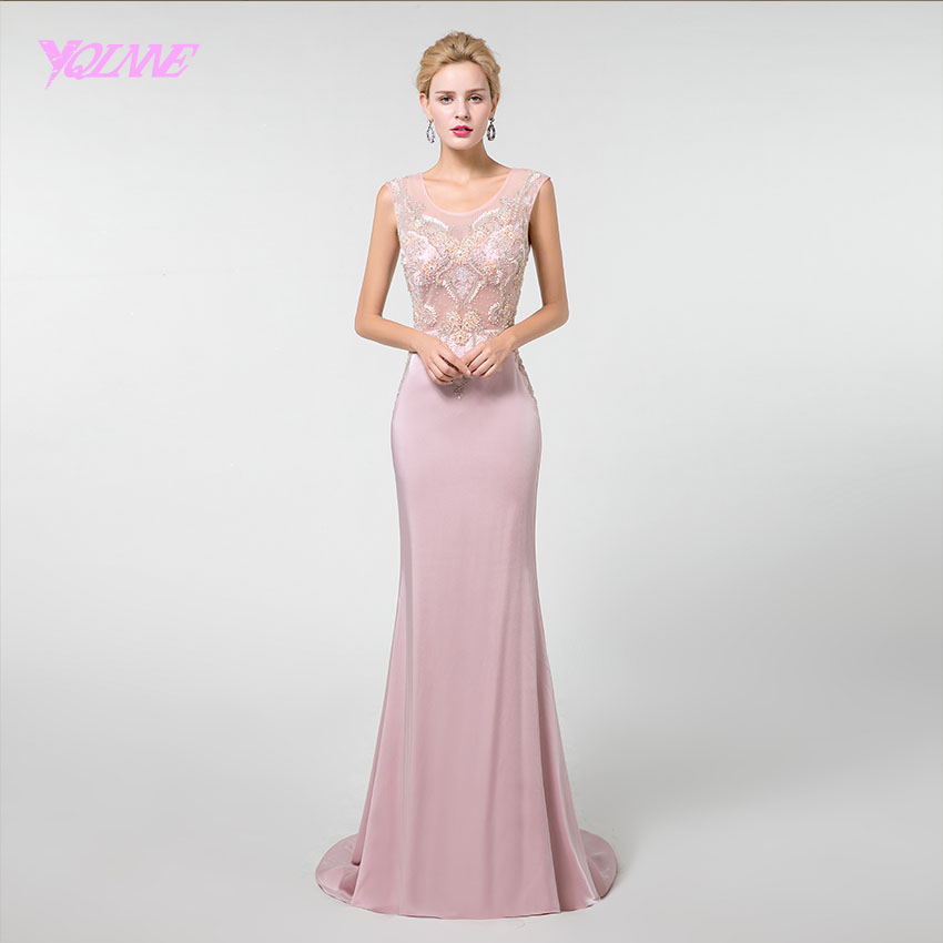 YQLNNE 2019 Pink Long   Prom     Dresses   Formal Evening Gown Mermaid Crystals Beaded Knitting