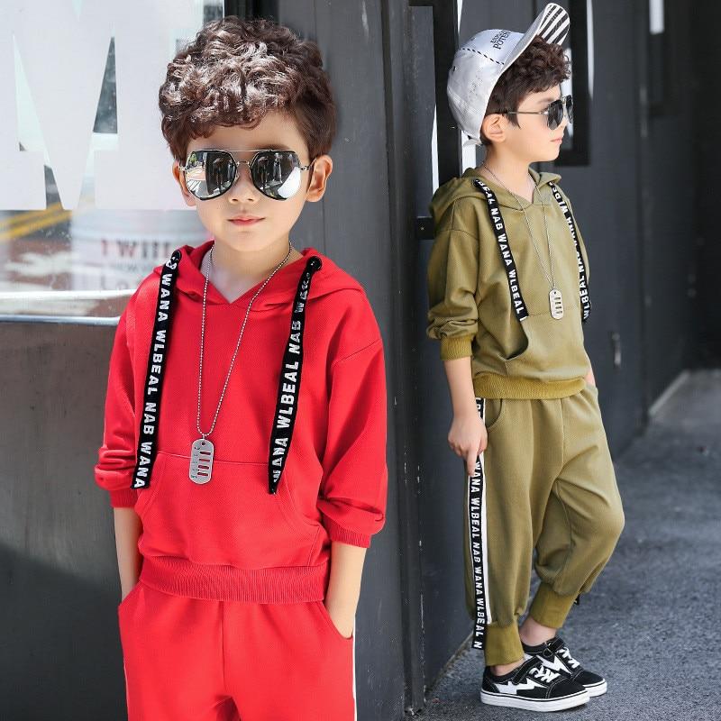2Pcs 4T-14T Children's Clothing Set Coat + Pants Boy Clothes Sets Sportswear Hooded Cotton Letter Kids Clothes For Autumn V20 2pcs set baby clothes set boy