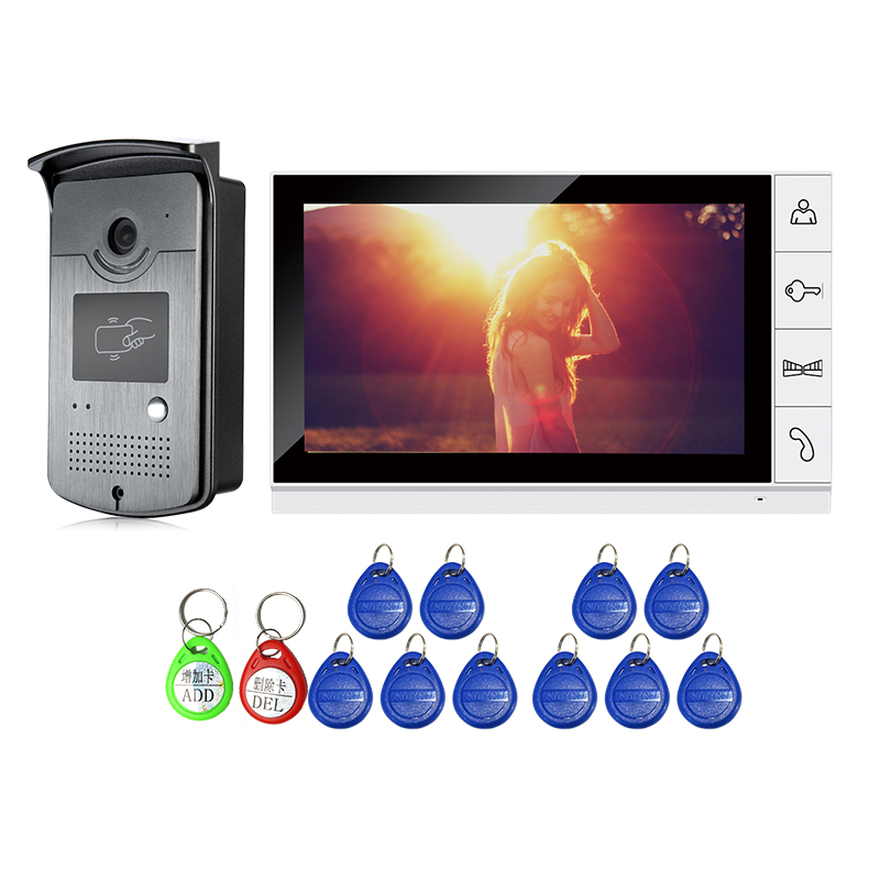 FREE SHIPPING 9 Color Screen Video Door Phone Intercom System + 1 White Monitor + Waterproof RFID Doorbell Camera Night Vision brand new wired 7 inch color video door phone intercom doorbell system 1 monitor 1 waterproof outdoor camera in stock free ship