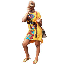2019 hot selling womens summer African girl print casual dress Knee-length short loose O-neck 9 colors CY8103