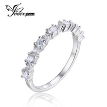 JewelryPalace 925 Sterling Silver Cubic Zirconia Band Ring Romantic Flower Shape Brand New Fine Jewelry For Women Ring Gift