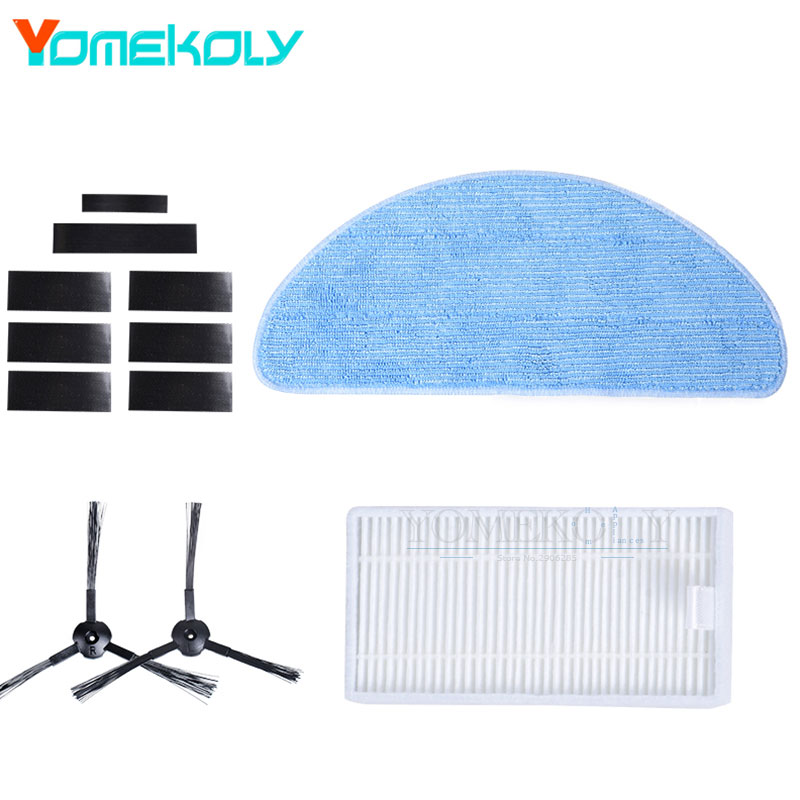 Side Brushes Hepa Filter Mop Cloth Magic Paste Set for Ecovacs CEN540 X500 CR120 CR121 Vacuum Cleaner Replacement Kits 3 pairs side brushes 2 pairs hepa filter 5pcs mop cloth replacement parts for vacuum cleaner accessories suitable for dt85 dt83
